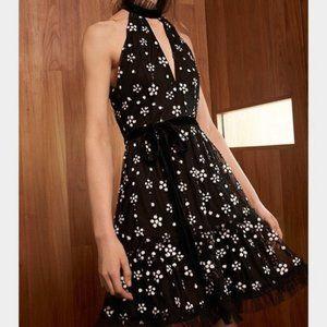 Alexis Poppy Dress Sequin Floral High Neck Black M